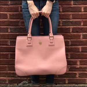 Tory Burch Pink Large Saffiano Leather Bag